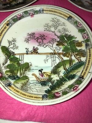 3 Antique Porcelain Plates-Japan-Hand Painted-Export Period-Chinese Influenced