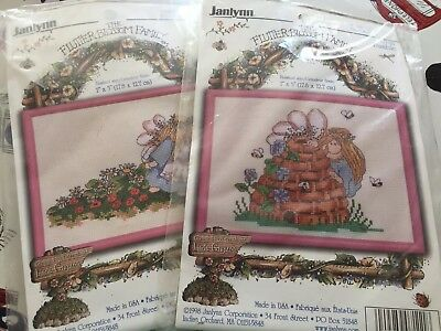 2x Janlynn Counted Cross Stitch The Flutter Blossom Family
