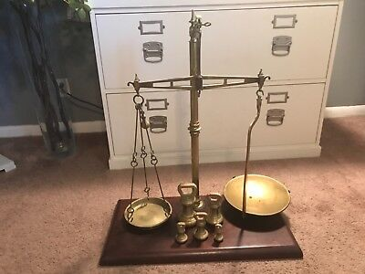 Antique 19th Century Brass Lawyer Justice Scale W&T Avery Birmingham England