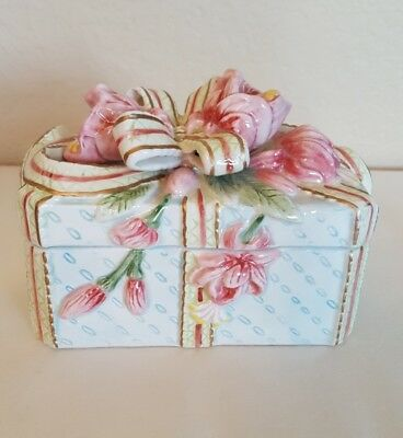 FITZ AND FLOYD Rose Floral Trinket Box w/Lid Flowers Roses Bows