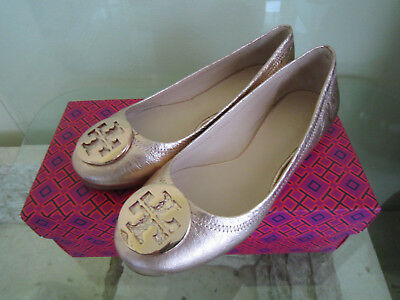 8d1fb03847f TORY BURCH RARE Rose Gold Reva Flats Sz 10.5 Retail  250 SOLD OUT ...