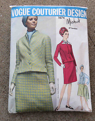 Original 1960s Vogue Couturier Pattern  1674 Suit  Blouse Michael of London 32