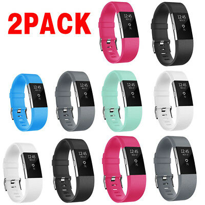 2PCAK For Fitbit Charge 2 / 2 HR Replacement Silicone Bracelet Watch Band BL