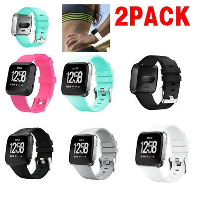 2X Replacement Silicone Rubber Classic Band Strap Wristband For Fitbit Versa PK