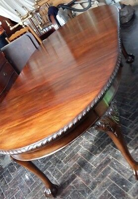 Victorian Mahogany Oval Drawer Leaf Table And Six Chairs Ball & Claw Feet
