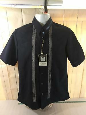 New w/ Tags 70s Style KINGSMEN Black DRESS SHIRT Small Slim Embroidered