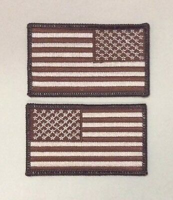 American Flag Patches Velcr O Style backing United States Desert Tan LOT of TWO