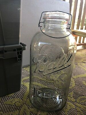 Tall Large 4 Gallon BALL IDEAL Eagle Mason Jar Glass With Lid & Wire