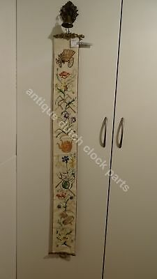 Antique Embroidered Bell Pull Cord Floral & Farm Theme,  Nice Hardware!