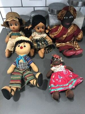 VINTAGE BLACK AFRICAN AMERICAN CLOTH ragdoll mini lot A15