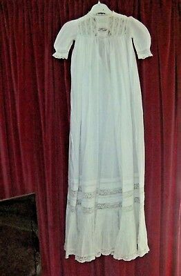 Antique Stunning Long Christening Gown in Cotton Lawn, Lace & Pin Tucks VGC