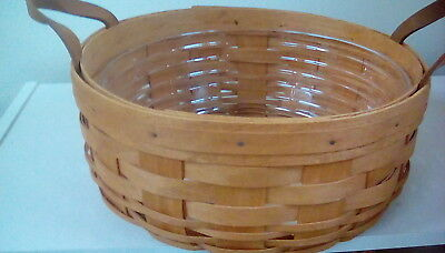 Longaberger Warm Brown  Darning Basket and Protector Set - NEW