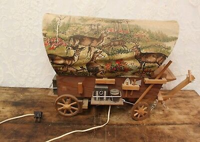 * Vintage Western Wooden Covered Wagon Lamp With Deer Print Fabric