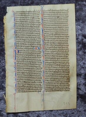 Decorative Illuminated Manuscript Leaf Bible Vellum Paris 1250 #b150