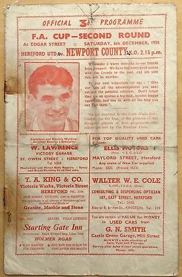 Vintage Hereford United Football Programme V Newport County FA Cup 2nd Round