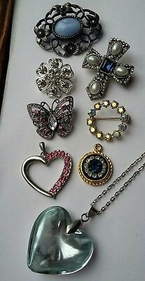 Job Lot Of Vintage Jewelled Brooches And Pendants