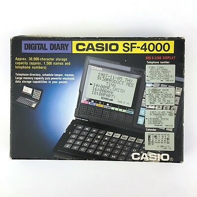 Casio Sf-4000 Digital Diary / Vintage Calculator Big Display Compact Pocket Data