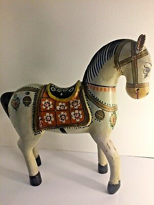 Antique Indian Wooden  Horse Sculptured Painted Temple Toy Statue