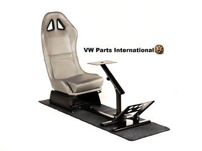 Car Gaming Racing Simulator Frame Chair Bucket Seat Frame Carbon Look Silver PS4