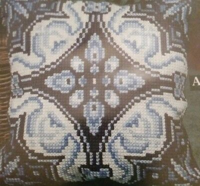 Vintage Delft Blue & White Tile Cushion Front Tapestry Cross stitch Kit A