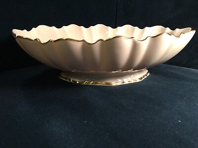 """Large 11"""" footed scalloped cream Lenox bowl with gold trim"""