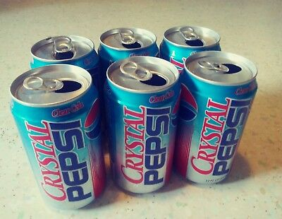 Vintage 6 Pack Crystal Pepsi Cola Soda Can Empty