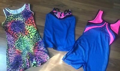 Lot Girls 7/8 Danskin Gymnastics Wear Unitard One Piece Top Excellent