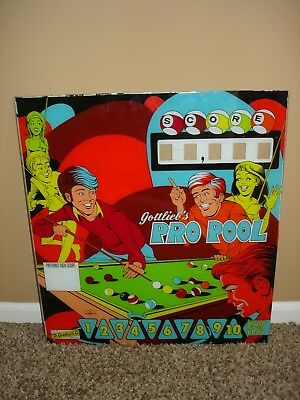 Original Gottlieb Pro Pool Wedgehead Pinball Machine Backglass