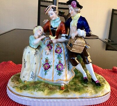Dresden /german Colourful Figurine.young Couple & Daughter With Bird & Cage.