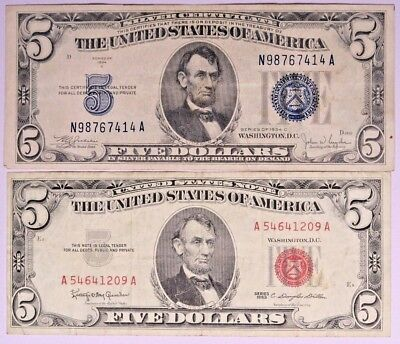 Lot of 2 - $5 Notes 1 -1934 C Silver Certificate and 1 -1963 United States Note