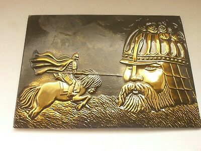 Antique Vintage Russian  Ussr Beautiful Bronze Decoration  Picture   Art- Deco