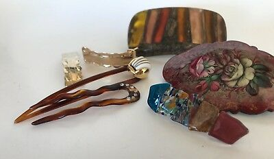 7pc Vintage Hair Barrettes Clips Collection Lot Some Handmade Hand Pained Murano