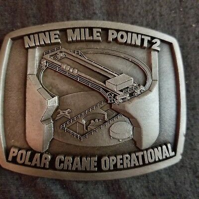Vintage Nine Mile Point 2 Belt Buckle Pilar Crane Operational