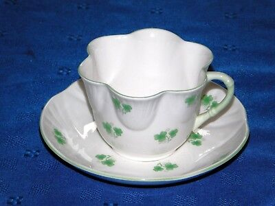 Crown Staffordshire fine bone china cup & saucer Shamrock Made in England