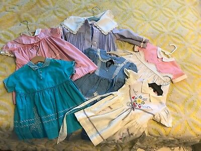 Lot Of Vintage Toddler Girls Dresses Baby Clothes 24 2T  3T 2/3 50s 1950s Coat