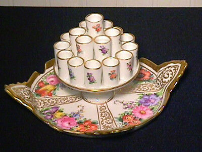 Dresden Cigarette Holder, Hand Painted Flowers, Gold Gilt, Hirsch, Germany