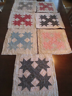 "7 Quilt Blocks Hand Pieced ""Bear Paw"" Pattern Made in Maine, Vintage"