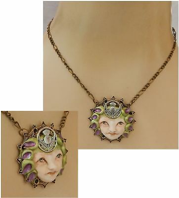 Thistle Fairy Face Pendant Necklace Jewelry Handmade NEW Hand Sculpted NEW Clay