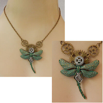 Steampunk Necklace Dragonfly Pendant Jewelry Handmade NEW Cosplay Gears Green