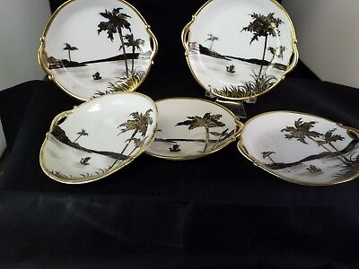 Antique Nippon Hand Painted Butter Pats/Nut Dishes/Salts/Tea Bag Holder