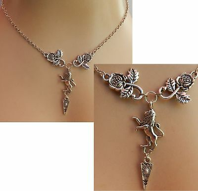 Lion Necklace Rampant Pendant Medieval Silver New Chain Fashion Roses Women