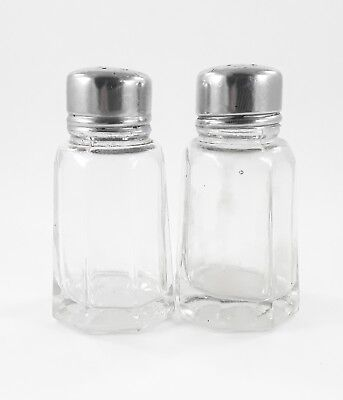 Salt and Pepper Shaker Set Clear Glass Stainless Steel lids 152