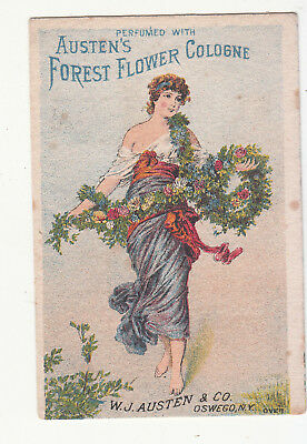 Austen's Forest Flower Cologne Garland M B Thomas Canton ME Vict Card c1880s