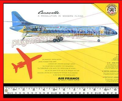 AIR FRANCE AIRLINES 1958 AIRLINE BROCHURE...New Sud Caravelle with CUTAWAY