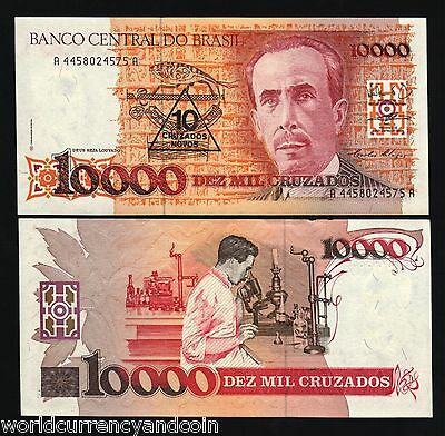 BRAZIL 10 on 10000 CRUZEIROS P218 1989 OVPT.UNC CURRENCY MONEY BILL NOTE 10 PCS