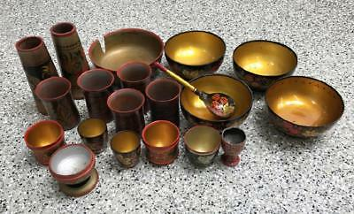 A lot of Vintage Russian Soviet Khokhloma Folk Art Painted Wood Bowls Cups
