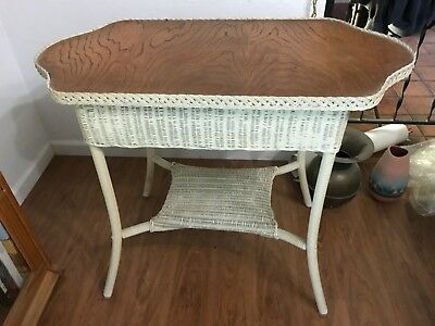 PRICED TO SELL Antique Wicker Table with Oak Top