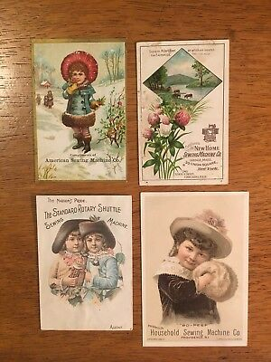 4 Vintage 1800's Antique Household Sewing Machine Co. Advertising Trade Cards