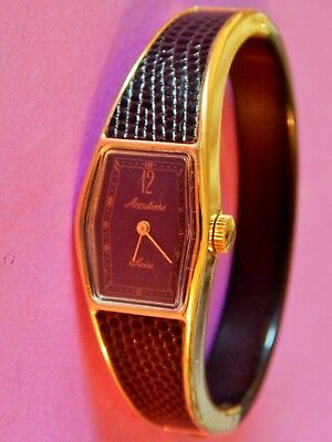 Vintage Accutime Swiss Ladies Wrist Watch Gold Tone Finish, Collectible Rare