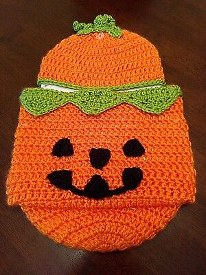 So Dorable Newborn Baby Photo Prop Costume Outfit Cocoon Knit Halloween Pumpkin